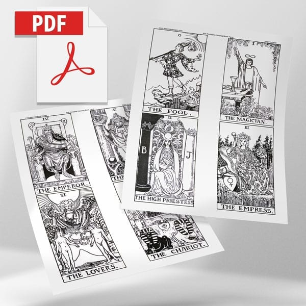 Rider Waite Print Your Own Coloring Pages 2.8″ X 5″ Cards – Alainn Tarot