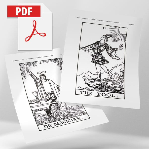 Rider Waite Print Your Own Coloring Pages 5″ X 9″ Cards – Alainn Tarot